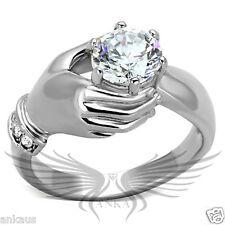 Brilliant Unisex Round Cut Cubic Zircon CZ AAA Engagement Ring Size 5-13 TK193