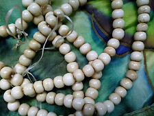 Vintage 50 IVORY COLOR SMOOTH real BONE ROUND BEADS 10mm #121015a