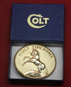 Colt Firearms Factory Gold Plated Rampant Colt Belt Buckle in Box .