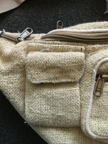 HEMP HANDMADE NEPALESE BUM BAG WAIST SHOULDER MULTI-POCKET LARGE TRAVEL FESTIVAL