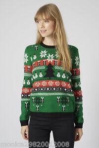 Topshop-Navidad-Fair-Isle-Jersey-Sueter-UK-4-6-8
