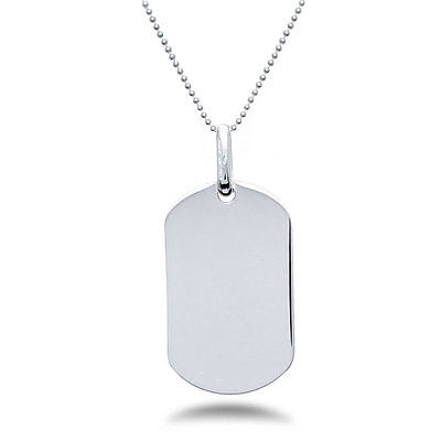 FREE ONE SIDE ENGRAVING Sterling Silver Dog Tag Necklace