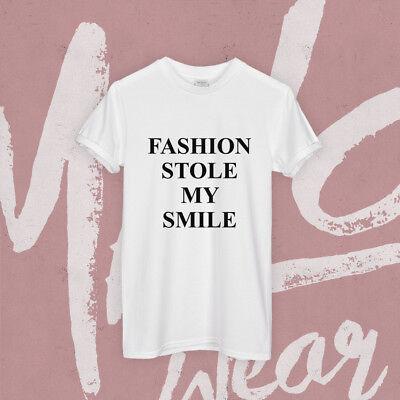 Fashion Ha Rubato Il Mio Sorriso T Shirt Top Slogan Victoria Hipster Minima Da Donna Tee-mostra Il Titolo Originale