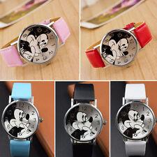 Mickey Mouse Leather Wrist Watch Lady Girl Women Teens Kids Cartoon Watches