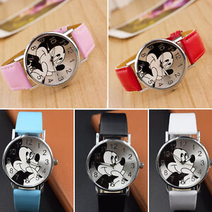 Mickey Mouse Leather Wrist Watch Lady Girl Women Teens Kids Cartoon Watches