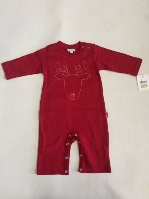 d97af567d NWT Le Top Baby Boys Coverall Holiday Christmas Reindeer Red 3 Months