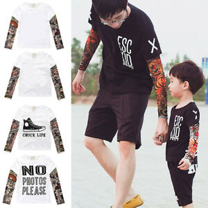 Father Son Family Matching Shirt Men Boy Kid Tattoo Sleeve T Shirt