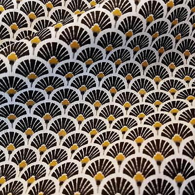 Stoff Baumwolle Japan Fächer rund schwarz messing Retro gemustert Neu Meterware