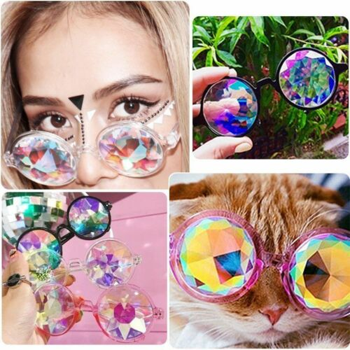 Festival Rave Kaleidoscope Rainbow Round Glasses Prism Diffraction Crystal Lens