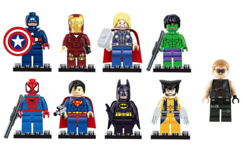Marvel Dc Avengers Mini Figures Fit LEGO 9 pcs Hulk Superman thor Batman Hawkeye