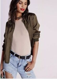 86f06a60859d1 Image is loading Missguided-Khaki-Bomber-Zip-Detail-Cool-Modern-Insta-