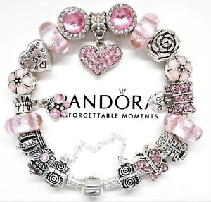 b9e635d7e1b Image is loading Authentic-Pandora-Silver-Charm-Bracelet-with-Pink-Love-