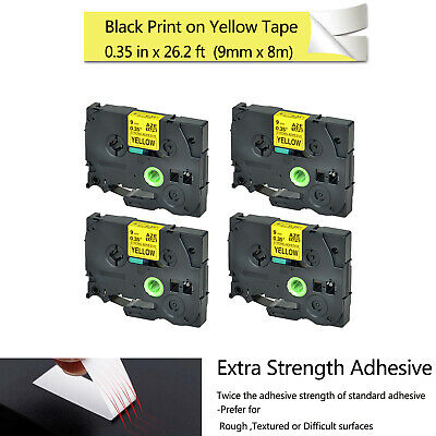 3PCS Black Print on Yellow Label Tape Flexible ID for Brother 12MM TZe TZ FX631