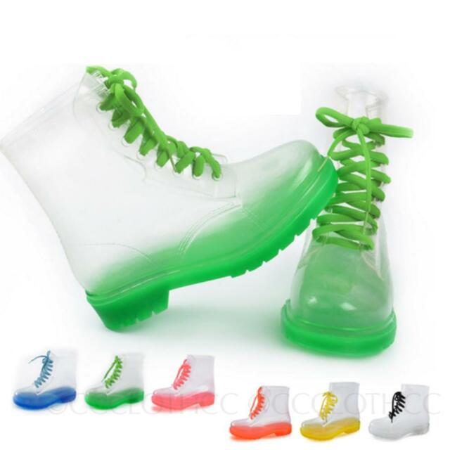 Clear Rubber Jelly Lace Up Oxford Ankle Combat Rain Boots Womens Shoes Size
