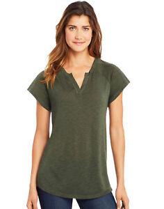 Hanes-Women-Shirt-Peasant-Henley-Top-VNeck-shirttail-hem-Lightweight-slub-jersey