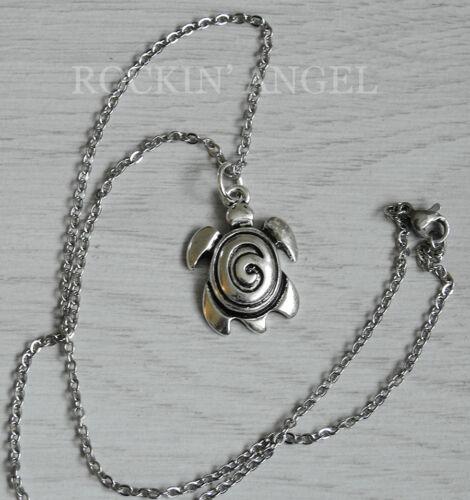 Antique Silver Plt Swirl Sea Turtle Pendant Necklace Ladies Men Gift Sealife C