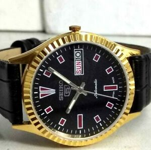 seiko5-automatic-men-039-s-gold-plated-BLACK-dial-vintage-japan-made-watch-ORDER-5