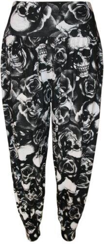 New Ladies Plus Size Tartan Animal Graphic Printed Baggy Harem Trousers 12-26