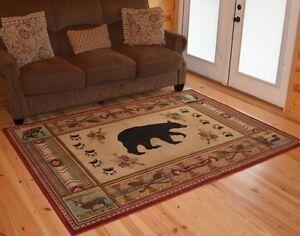 Southwest Border Bear Cabin Lodge Area Rug 2x3 5x8 8x10 5