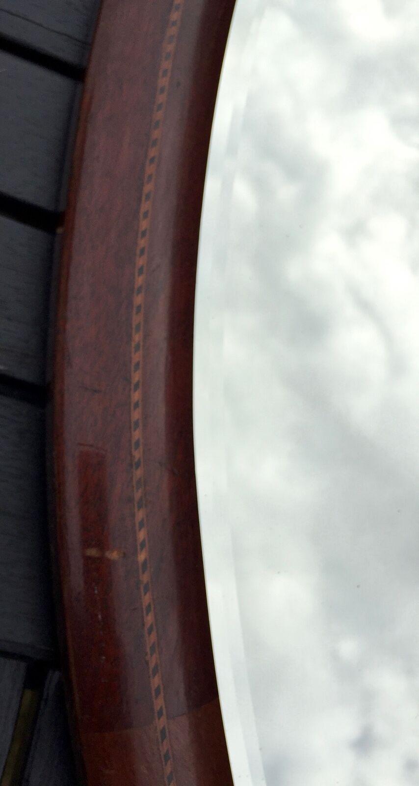 Vintage 19TH-20TH C Marqueté Bois Acajou Ovale Ovale Acajou Miroir Mural 29
