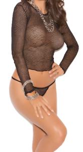Black Long Sleeved Fishnet Top /& G string thong up to size 14 sheer lingerie set