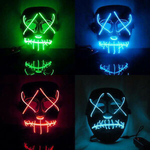 2017 The Purge Movie EL Wire DJ Party Festival Halloween Costume LED ...