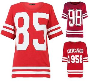 New-Womens-Plus-Size-Number-Printed-Red-Varsity-Stripe-T-Shirts-12-26