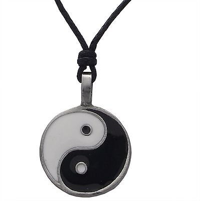 Pewter YIN and YANG Pendant Adjustable Black Cord Necklace Nickel Free Buddist