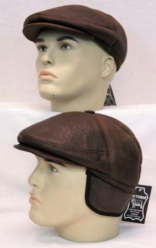 100/% REAL SHEEPSKIN SHEARLING LEATHER Driving Newsboy Hat Gatsby ESPRESSO S-3XL