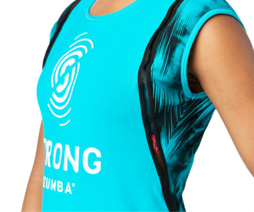 Free Shipping! No Big Teal Squat Sync Sweat Top STRONG by Zumba New