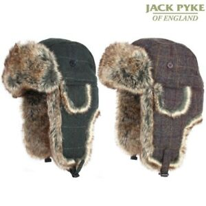 3ee2d78b3 Details about JACK PYKE MENS WOOL BLEND TRAPPER HAT CHECK ACRYLIC FUR  HUNTING SHOOTING