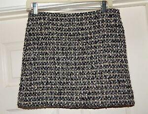 Wool 2 Sz Gold Black Skirt Knit J Pleated Boucle Crew Gray qvzxWwZCY