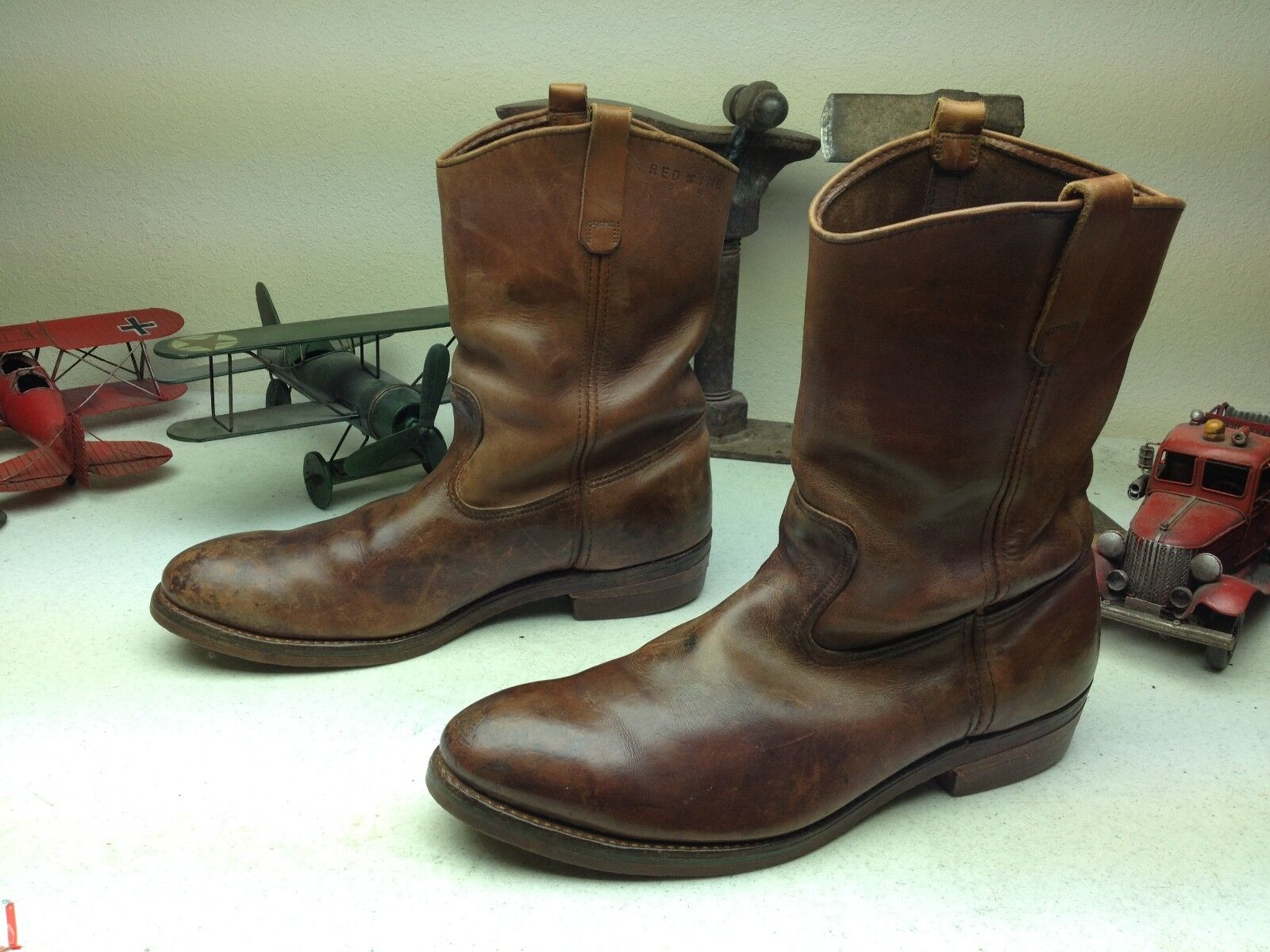 DISTRESSED VINTAGE MADE IN USA rosso WING Marronee LEATHER ENGINEER BOSS stivali 14 D