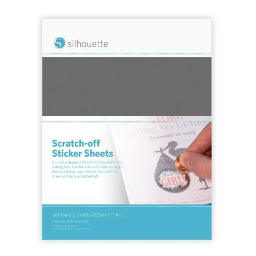 """Silhouette Printable Scratch-off Sticker Sheets 8.5/""""x11/"""" 5pk-silver"""
