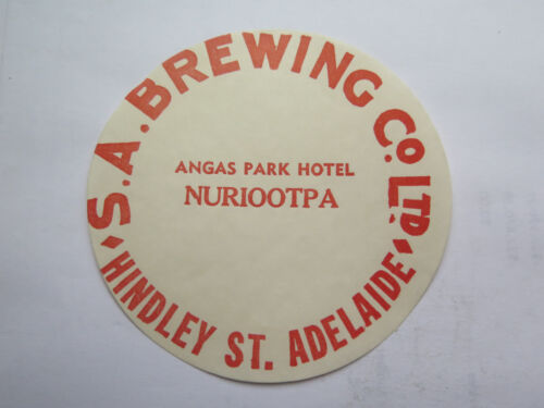SA BREWING Co ANGAS PARK HOTEL BEER KEG LABEL c1970s NURIOOTPA SOUTH AUSTRALIA