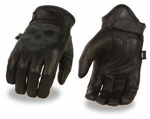 Milwaukee-Leather-Men-039-s-Reflective-Skull-Glove-w-Gel-Palm-for-Motorcycle-Riders