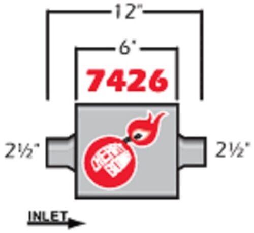 NEW Cherry Bomb EXTREME Muffler 7426CB 4 inch x 9 3//4 inch OVAL Center//Center