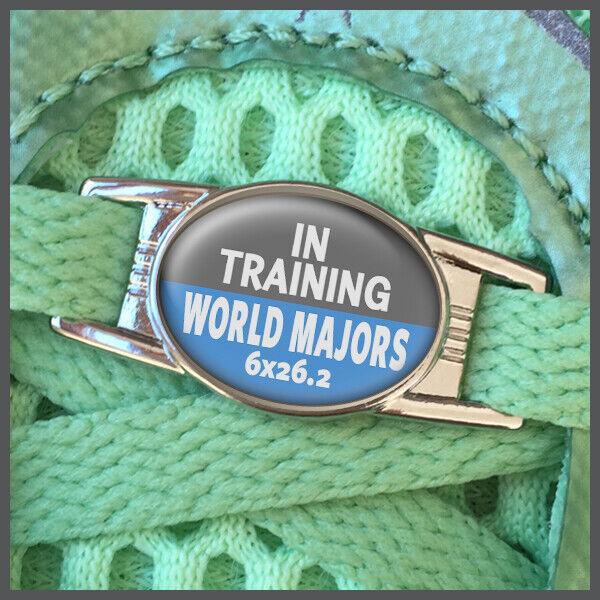 In Training World Majors 6x 26.2 Marathon Shoelace Shoe Charm or Zipper Pull