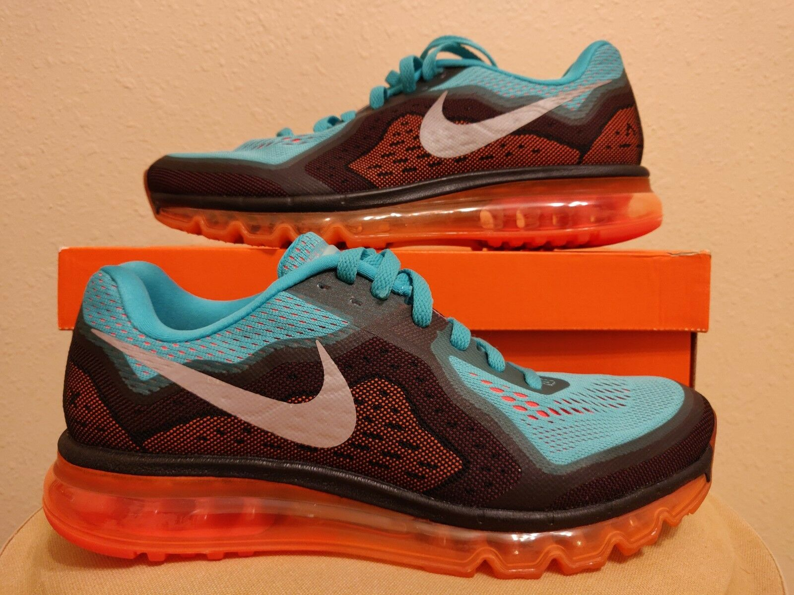 Nike Air Max 2014 Running shoes Hyper Jade orange Black (621077-302) size 10