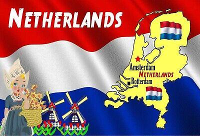 SOUVENIR NOVELTY FRIDGE MAGNET NETHERLANDS MAP /& FLAG NEW// GIFTS SIGHTS