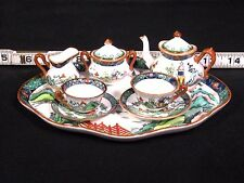 Crown Staffordshire Ye Olde Willow Fine Bone China Miniature Tea Set 10 Pieces
