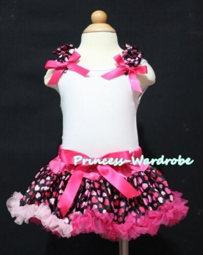 Newborn Baby Hot Light Pink Sweet Heart Pettiskirt Tutu Ruffle White Top 3-12M