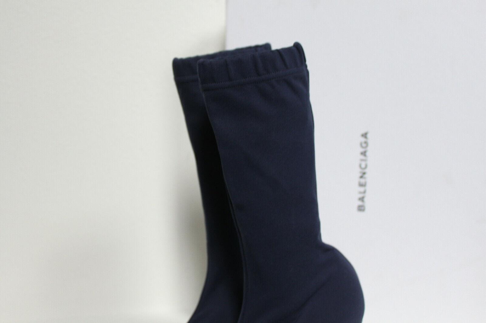 New sz 9.5     40 Balenciaga Knife Stretch Navy Fabric Pointed Toe Stiefel Heel schuhe 3db079