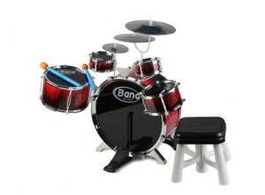 Batteria musicale tamburi piatti giocattolo con sgabello e