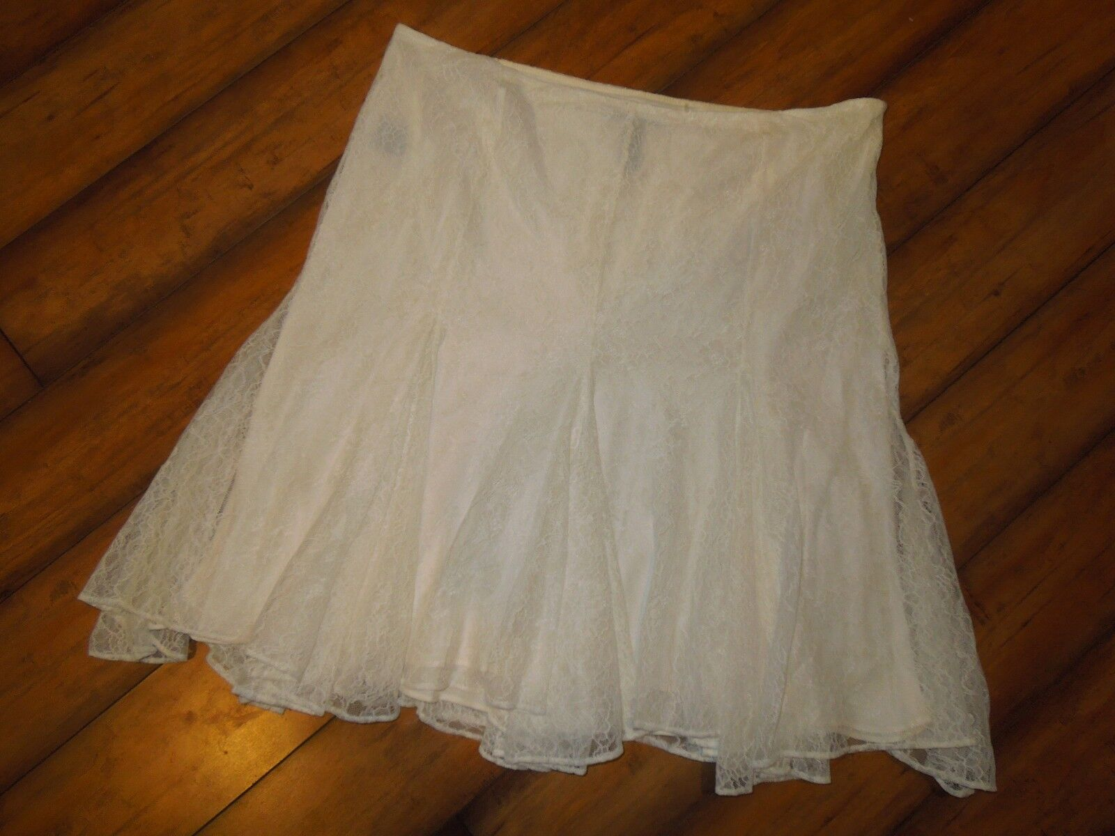 Lauren Ralph Lauren LRL SKIRT lace Pearl Off White lined Size 8