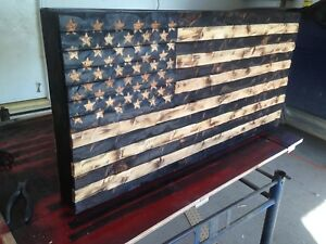 Image Is Loading Gun Safe Hand Carved Rustic American Wooden Flag