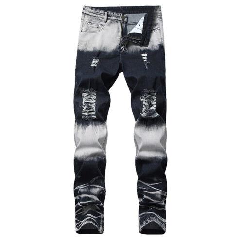 Hot Men/'s Biker Ripped Skinny Jeans Bleached Distressed Frayed Slim Denim Pants