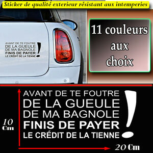 sticker autocollant humour citation phrase swag paye le credit de ta voiture ebay. Black Bedroom Furniture Sets. Home Design Ideas