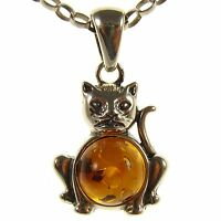 Gift Boxed Baltic Amber Sterling Silver 925 Cat Kitten Pendant Jewellery Jewelry