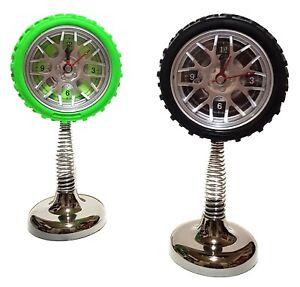 Quarz-Feder-Wecker-Uhr-Tischuhr-Reifen-Auto-Felgen-Autoreifen-Garage-Werkstatt